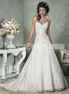 Shinning Lace Hem Chapel Train A Line Strapless Wedding Dresses