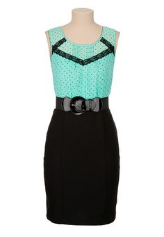 Belted Dot Print 2fer Dress available at #Maurices
