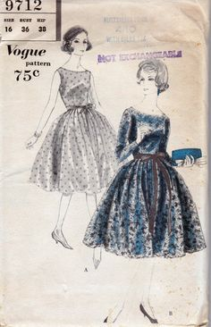 1950s Vintage Sewing Pattern Vogue 9712 Full Skirt Plunge Back Dress and Petticoat