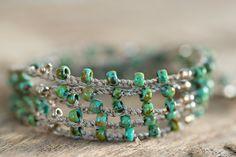 Crochet Wrap Bracelet Crochet Necklace Gold by AmorphiaDesigns