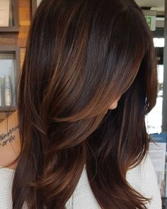Copper Highlights For Dark Hair hair ideas 60 Hairstyles Featuring Dark Brown Hair with Highlights Dark Hair With Highlights, Hair Color Dark, Cool Hair Color, Brown Hair Colors, Partial Highlights, Brunette Highlights, Carmel Highlights, Bayalage Brunette, Purple Hair