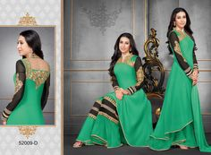 Karishma Kapoor Green Colour Georgette Embroidery Work Unstitched Dress Material