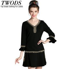 L- 5XL  Autumn  Dress  Beading V neck Ruffles Sleeve Drop Waist Short Mini  Vestidos Femme