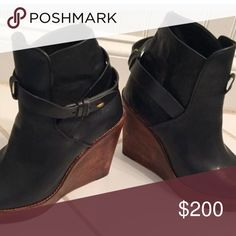 Rag and Bone booties Never worn!  Amazing Rag and Bone black leather wedge booties.  These boots are amazing. rag & bone Shoes Ankle Boots & Booties