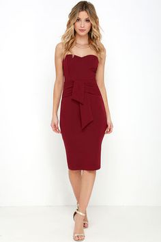Sash Appeal Wine Red Strapless Dress at Lulus.com!