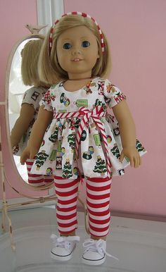 Christmas top and leggings made to fit 18 inch American Girl Doll,red and green