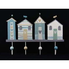 Gisela Graham Shoreline Seaside Nautical Large Wooden 4 Hook Peg Rail & Home Wooden Pegs, Wooden Houses, Gisela Graham, Thing 1, Beach House Decor, Home Decor, Pastel Shades, Little Houses, Nautical Theme
