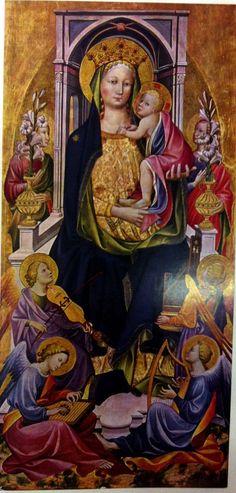 Gherardo Starnina - Madonna con Bambino in trono e angeli, Santa Margherita d'Antiochia e sant'Andrea, San Pietro e santa Maria Maddalena, (dettaglio Polittico di Würzburg) - Würzburg, Museum Wagner-der Universität Würzburg