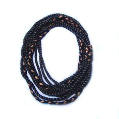Nautical Rope Necklace Copper and Black Multi by FabricTwist