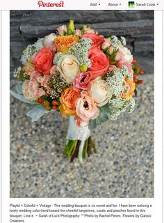 vintage inspired bouquet of coral peach and cream colored flowers. Very romantic!