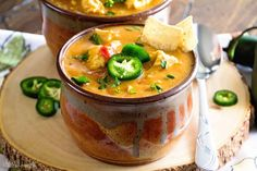 Crock Pot King Ranch Chicken Soup ~ Your Favorite King Ranch Chicken Casserole Flavor Turned into a Comforting Soup Made in Your Slow Cooker! ~ https://www.julieseatsandtreats.com