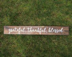 Grateful Thankful Blessed sign Thankful Sign by CoastalCraftyMama