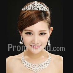 Alloy Wedding Jewelry Set Including Tiara, Earrings, Necklace With Rhinestone - Promtrend.com