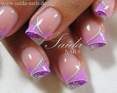 Schneler Ngel - Forum for nail design, nail art and artificial fingernails - View topic - the last works - Gel Fingernägel - French Nails, Glitter French Manicure, Purple Nail Designs, Cool Nail Designs, Purple Gel Nails, Silver Nails, Purple Glitter, Pink Purple, Hot Pink