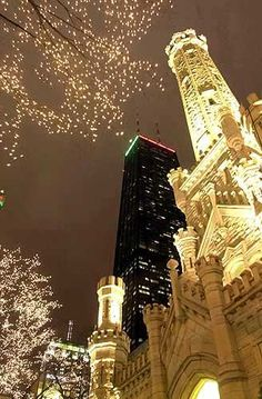 Chicago Water Tower and John Hancock building at night...sweet home Chicago! The most beautiful place to be at Christmas time