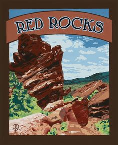 Red Rocks - Gouache on Pressed Board.  By Julie Leidel.  See her (and maybe even buy) work at the bungalowcraft.com.