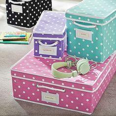 mini or medium sized bin for toy storage/diaper caddy area, color=pool.  Dottie Canvas Bins #pbteen