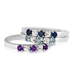 Ladies Birthstone and White Sapphire Rings in 10 Kt. White or Yellow Gold | Yellow Gold | Rings | Jewelry