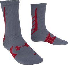 Under Armour Men's Baseball Crew Socks (1 Pair), Red/White, Large