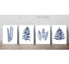 Fern Art Print Botanical Home Decor set of 4 Denim Blue Leaves. Morern Minimalist Kitchen Poster. Indigo ClipArt Ferns Home Garden. Forest Plants Living Room Decoration. Abstract Watercolor Painting. A price is for the set of 4 different Fern Art Prints as in the first Picture. Type of paper: Prints up to (42x29,7cm) 11x16 inch size are printed on Archival Acid Free 270g/m2 White Watercolor Fine Art Paper and retains the look of original painting. Larger prints are printed on 200g/m2 White…