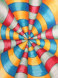 optical art lesson   Optical+illusion+art+lesson   zentangles ...