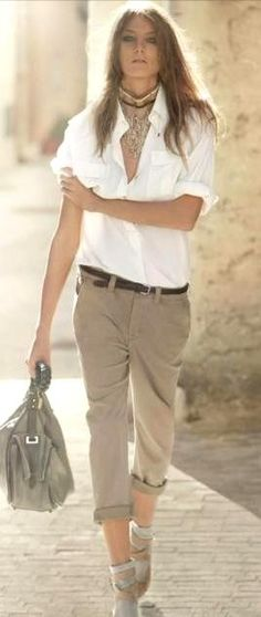 Khaki & white Street Summer Style. ~  ~ A huge take on Safari Chicness, again sans the heels & add a hat ~