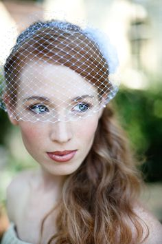 Bridal Birdcage Veil with Swarovski Pearl Edge Easy Fit in IVORY or WHITE French Netting. $39.50, via Etsy.