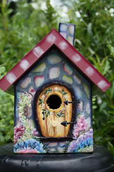 wimsical bird house | ... crafted, Hand Painted, OOAK, Whimsical, Cobblestone Wood Birdhouse