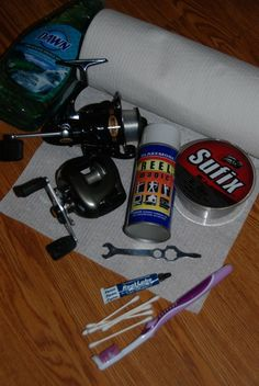 Reel maintenance requires mild soap, paper towels, swabs, and lubricants made for the job—and fresh line for the spool. Image by Dan Armitag...