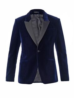 One button peak lapel jetted pocket blazer with contrasting lapels