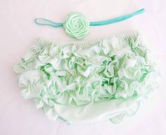Baby Bloomers  Baby Bloomers Mint With Cute Ruffle in by cacababy, $14.95