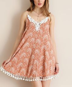 Love this Dusty Peach Paisley Tassel-Trim Shift Dress on #zulily! #zulilyfinds