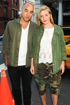 Suno's Max Osterweis with Kate Foley, in cargo shorts, at the Acne store opening in New York.