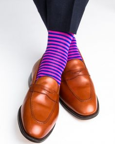 Dapper Classics Clematis Blue and Rose Repeating Stripe Linked Toe Sock