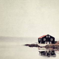 Iceland Photo Rustic Wall Decor Cabin Decor Landscape Photography Large Art Wall Art Print Black Red 8x8 - Ordinary Silence (30.00 USD) by EyePoetryPhotography