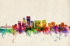 Portland, OR Skyline Art by Michael Tompsett