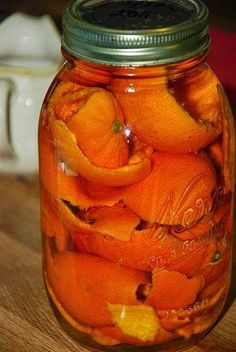 """Soak orange peels in vinegar for two weeks in a sealed mason jar then pour the vinegar into a spray bottle. Use as a non-toxic and yummy smelling """"green"""" cleaner. I love using vinegar to clean with but have always wondered how to make it smell better   Gonna have to try this...."""