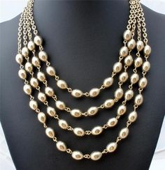Vintage Statement Bead Necklace Gold Plated Multi Strand Leaf Estate Jewelry | eBay
