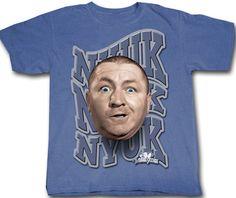 67e046d2 Three Stooges T-shirt Curly NYUK NYUK NYUK Adult Funny Blue Tee Shirt Three  Stooges