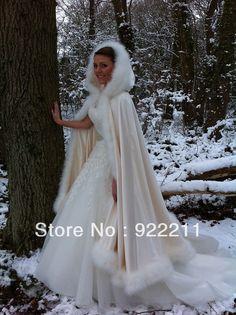 Elegant Ivory Color Hooded with Faux Fur Trim Long for Bride Winter Wedding Cloak Cape $209.00