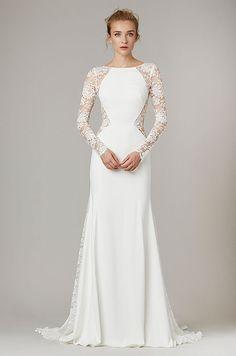 Elegant silk wedding dress with long lace sleeves, Lela Rose Fall 2016 Bridal Collection