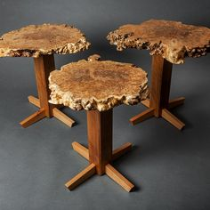 A set of #maple #burl side tables we just finished last week....The bases are…