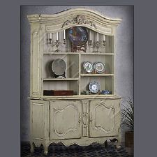 French Country Provence Hutch Parchment China Cabinet