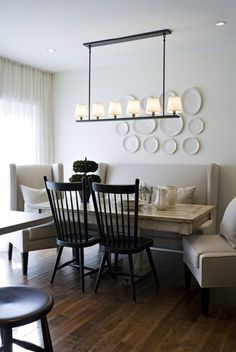 Leather Dining Room Chairs With Arms - Foter                                                                                                                                                                                 More Windsor Chairs, Dining Room With Bench, Dining Room Walls, Leather Dining Room Chairs, Dining Room Design, Dining Area, Dining Chairs, Dinning Table, Living Room Chairs