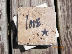 Love With Star Black Stamped Travertine Tile Coaster Set by TrendyTrioDesigns on Etsy