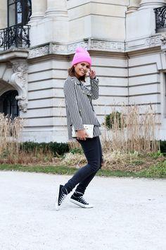 Pink beanie and stripey blazer. Stripes in street style.