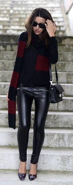 #fall #fashion / leather + scarf