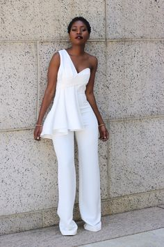 White Wide Legged One Shoulder Jumpsuit : Chic look for a Prom Outfit or Easter Sunday Outfit