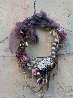 RESERVED for JOANNE--first snow-- delicate, bold, rustic, tribal influenced necklace from vintage and antique textiles