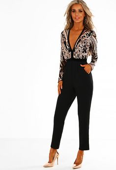 Just Famous Black and Rose Gold Sequin Long Sleeve Jumpsuit | Pink Boutique